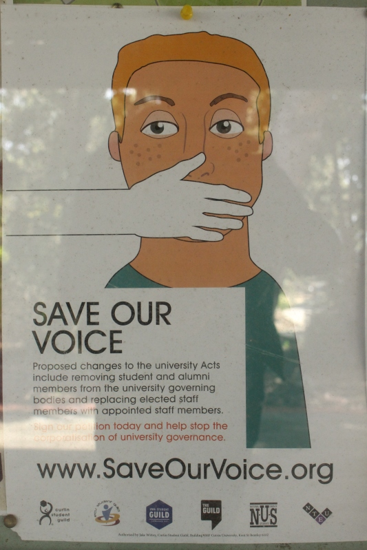 Save Our Voice campaign posters are up around Uni. Photo by: Madura McCormack