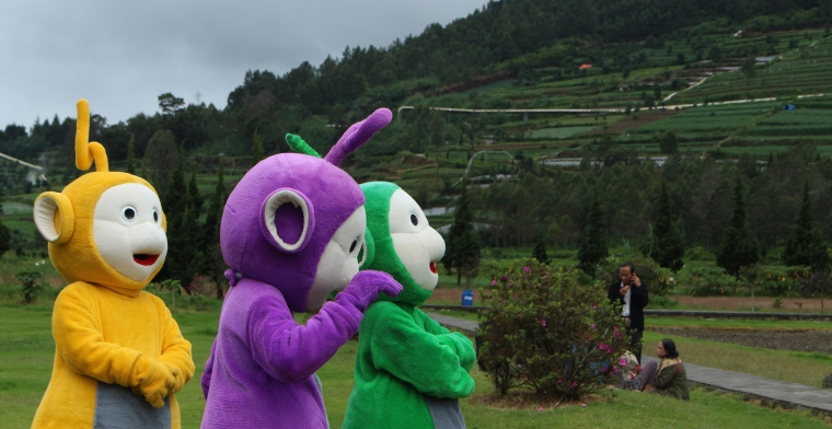 Life-size teletubbies in the real world. Photo by: Madura McCormack