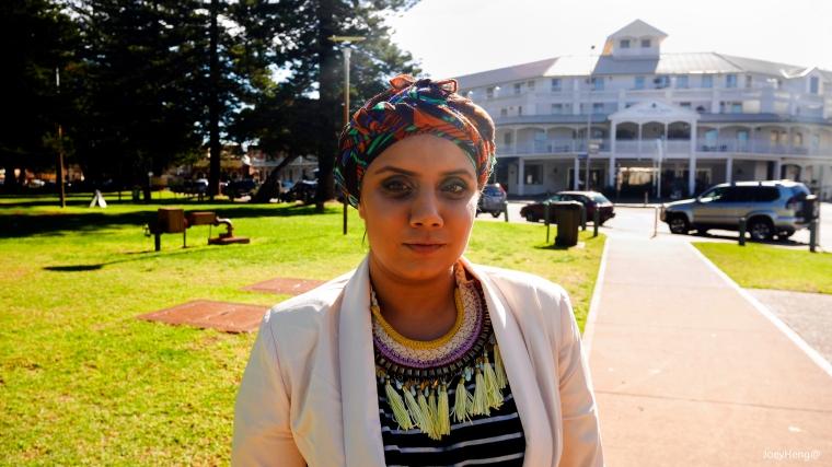 Sameera Afzaal modelling Kenza Threads. Photo by Joey Heng